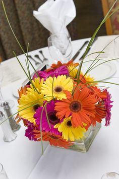 Gerbera and daisy centrepiece IN LOVE! GERBERS ARE MY FAVORITE FLOWER!