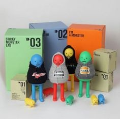 Sticky Monster Lab y sus Toy Arts Toy Art, Vinyl Toys, Vinyl Art, Sticky Monster, Kids Part, Toy Packaging, Designer Toys, Packaging Design Inspiration, New Toys