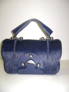 Fendi Handbags Secrete Code Dark Blue CALF HAIR Leather