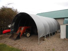 Repurpose the trampoline frame for tractor storage