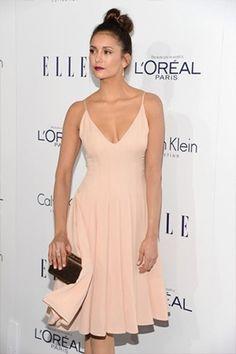 411aa437c4def Nina Dobrev 2015 Hollywood Awards Stunning Blush Cocktail Party Dress