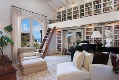 Traditional Library with Carpet, Exposed beam, Loft, bedroom reading light, French doors, specialty window, High ceiling