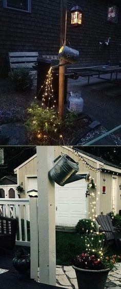Don't throw away those old watering cans, they can be turn into magical lighting for your patio or yard. #wateringcan #diylighting