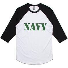 theIndie NAVY Stencil (Green) 3/4-Sleeve Raglan Baseball T-Shirt