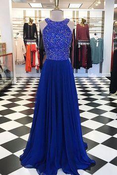 Luxury navy blue chiffon sweetheart round neck beading long evening dresses ,long prom dress