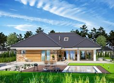 Wizualizacja ARP PADME CE House Plans Mansion, 4 Bedroom House Plans, Bungalow House Plans, Village House Design, Village Houses, Rest House, My House, L Shaped House, Cottage Style Homes