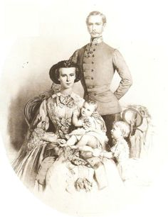 Emperor Franz Joseph and Empress Elisabeth with their children Sophie and Gisela.