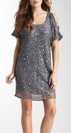 Cold Shoulder Sparkle Dress / Gold Hawk