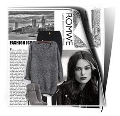 """""""Knit Black Sweater with Romwe"""" by karen-bachman ❤ liked on Polyvore"""