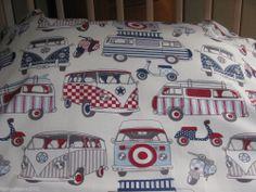 New Single Bed Duvet Cover Set VW Camper Van's Blue Boys Scooters