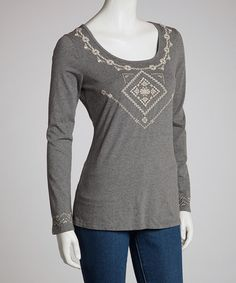 Take a look at this Charcoal Lace Long-Sleeve Top by Bella Carra on #zulily today! $40 !!