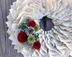Christmas Wreath, Holiday Wreath, Music Wreath, Paper Wreath with Red, Green & Black Paper Flowers 18""