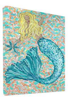 Blonde Mermaid Gallery Wrapped Canvas Art.