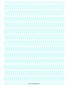 This Manuscript Practice Paper features alternating sets of light blue lines spaced 1/4- and 1/2-inch apart with low angle vertical guidelines on letter-sized paper in portrait orientation. Free to download and print