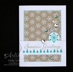 "Cheerful Tags ""Silver"" card with Baker's Twine frame! ~ Cindy Schuster"