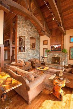 Masonry Fireplace - love the furniture