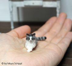 ~*~ OOAK ~*~ Tiny Grey 1:12 Dollhouse Tabby Cat ~*~ Handmade ~*~