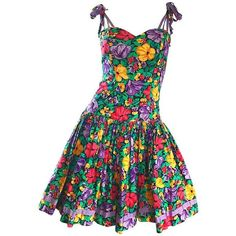 Preowned Vintage Blair Woolverton 1980s Floral Ribbon Size 4 Cotton... (44.990 RUB) ❤ liked on Polyvore featuring dresses, black, cocktail dresses, 80s cocktail dress, flare dresses, vintage dresses, bow tie dress and fit and flare summer dress