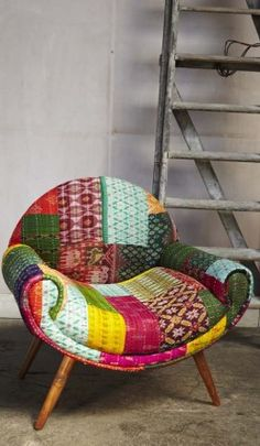 Bohemian chic patchwork upholstery chair