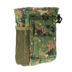 S Size Outdoor All-Purpose Nylon Waterproof Molle Military Recycle Collection Pouch Carrying Bag with Drawstring - green & soil