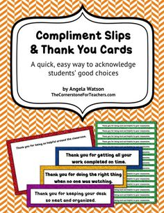 Compliment slips and thank you cards: an easy way to acknowledge kids' good choices. FREE until Wed. 11/19!