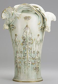 ERNST WAHLISS; Porcelain Amphora vase with figural rooster handles, body decorated with relief molded dandelions, early 20th c.; MADE IN AUSTRIA 1 1710; 14''