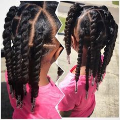 RyLei Kai is ready to spend the weekend w/her dad. My FAVORITE easy to manage #protectivestyle Twist & beads ♀️ #curlykidshaircare…