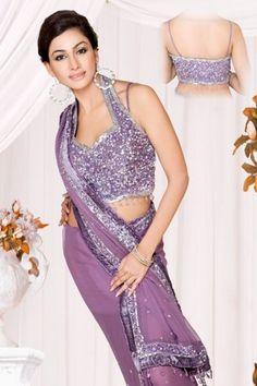 Purple Halter Sari Blouse