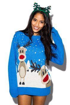 12cde0c99d56b Sullivan Double Reindeer Christmas Jumper In Blue £16.99 Ladies Christmas  Jumpers