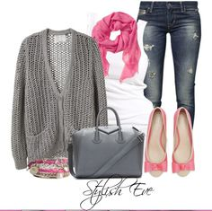 love this look! :) #pink #gray #girly #casual #mystyle