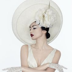 Gemma Chan wearing a Philip Treacy hat design