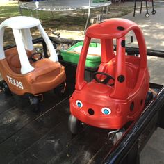 The cozy coupe cars redone for my niece and nephew