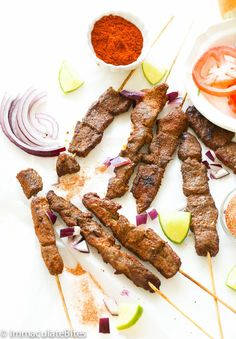 Suya- Roast African spicy skewered beef - irresistible beef Satay with Spicy Peanut Spice Blend - the epitome of West African Street food.