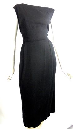 Black Linen Weave Rayon Dress with Overblouse circa 1960s - Dorothea's Closet Vintage