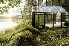 Garden Shed by architect Ville Hara & designer Linda Bergroth. Bergroth's customized version of the prefab greenhouse+shed combo acts as a summer house on a Finnish island. Natural Bedroom, Garden Bedroom, Dream Bedroom, Summer Bedroom, Forest Bedroom, Peaceful Bedroom, Cozy Bedroom, Night Bedroom, Magical Bedroom