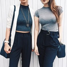 matchy-matchy mood AGAIN.  gray cropped tops and high waisted pants. #stylemood