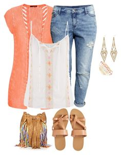 """plus size summer denim styles/casual"" by kristie-payne ❤ liked on Polyvore"