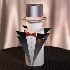 Use these formal but whimsical Tuxedo Centerpieces as table decor to complement your ballroom Prom theme! Top Hat Centerpieces, Table Decorations, Centerpiece Ideas, Black Tie Party, Red Carpet Party, Prom Decor, 60th Birthday Party, Event Decor, Tuxedo