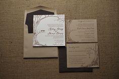 Rustic wedding invitation on kraft paper, big tree with initials