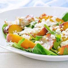 Grilled peach and pancetta salad. An Italian inspired summer salad ideal for al fresco entertaining.