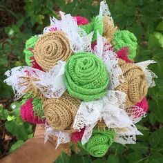Lime green, fuchsia (hot pink) and tan burlap and lace bouquet. This size is typically used as a bridesmaid bouquet, although this one will be used as a small bridal bouquet for their informal wedding.