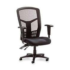 This High Back Executive Black Mesh Ergonomic Office Chair features a mesh back chair, mesh fabric seat and ergonomically designed high back for the natural curvature of a person's back. Arms adjust in height and width.