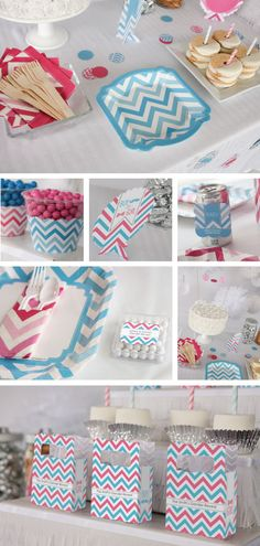 Chevron Gender Reveal Party Supplies and Decorations #BigDot #HappyDot