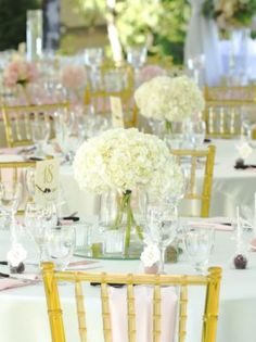White Floral Wedding Reception Centerpiece