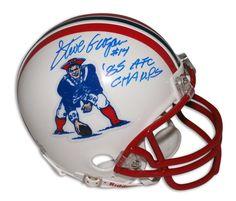 """Steve Grogan New England Patriots Autographed Mini Helmet Inscribed """"""""85 AFC Champs"""""""""""