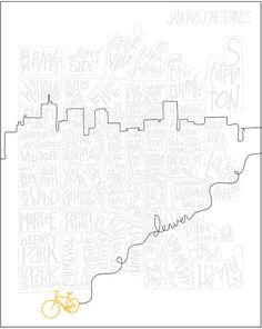 print of the denver, CO skyline from January Jones Prints