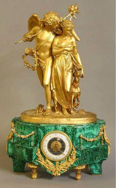 39: Russian Malachite and Dore Bronze Clock by Deniere : Lot 39