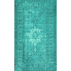 Winsdor Damla Overdyed Turquoise Rug (€255) ❤ liked on Polyvore featuring home, rugs, turquoise area rug and turquoise rug