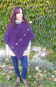 Egg plant poncho made from old sweater - You can also wear it on your coat! :)