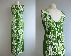 Vintage Hawaiian Maxi Dress /  60s Tropical Print Floor Length Sundress Lime Green Hibiscus